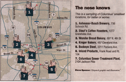 Olfactory map of Columbus, OH (source: J B Krygier).