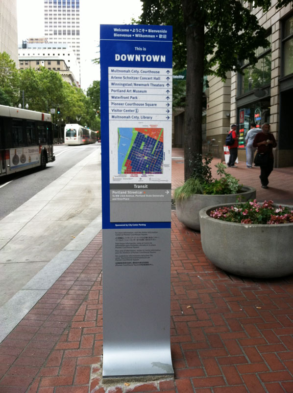 Downtown Portland two-faced ground-mounted sign (source: MIG)